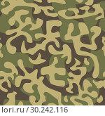 Купить «Seamless camouflage pattern in green tones», иллюстрация № 30242116 (c) Сергей Лаврентьев / Фотобанк Лори