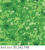 Купить «Seamless green camouflage of pixel pattern», иллюстрация № 30242148 (c) Сергей Лаврентьев / Фотобанк Лори