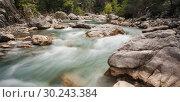 Купить «Mountain river in the dense forest, Turkey», фото № 30243384, снято 4 апреля 2015 г. (c) Валерий Моисеев / Фотобанк Лори