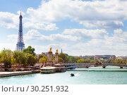 Купить «Bridge Pont Alexandre III and Eifel tower, Paris», фото № 30251932, снято 6 августа 2016 г. (c) Сергей Новиков / Фотобанк Лори