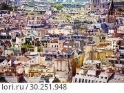 Купить «Paris roofs view from Notre Damme Cathedral», фото № 30251948, снято 16 сентября 2017 г. (c) Сергей Новиков / Фотобанк Лори