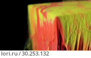 Купить «Multicolored ink paint slowly flows from the cube underwater», видеоролик № 30253132, снято 24 июля 2019 г. (c) Dzmitry Astapkovich / Фотобанк Лори