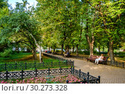 Купить «Москва, Тверской район, Миусский парк», фото № 30273328, снято 2 сентября 2018 г. (c) glokaya_kuzdra / Фотобанк Лори