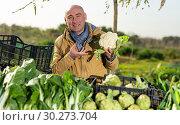 Купить «Man offering cauliflower on local market», фото № 30273704, снято 21 февраля 2019 г. (c) Яков Филимонов / Фотобанк Лори