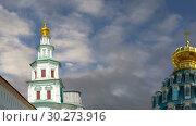 Купить «Resurrection Monastery(Voskresensky Monastery, Novoiyerusalimsky Monastery or New Jerusalem Monastery) against the sky--is a major monastery of the Russian Orthodox Church in Moscow region, Russia», видеоролик № 30273916, снято 10 марта 2019 г. (c) Владимир Журавлев / Фотобанк Лори