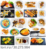 Купить «Collage of various breakfast foods on a white background», фото № 30273984, снято 23 июля 2019 г. (c) Яков Филимонов / Фотобанк Лори