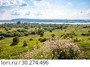 Купить «View Kama River (Volga tributary). Perm region. Central Russia», фото № 30274496, снято 6 августа 2014 г. (c) Евгений Ткачёв / Фотобанк Лори