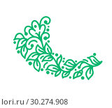 Купить «Monoline flourish candinavian folk vector monogram with leaves and flowers. Corners and dividers for Valentines Day, wedding, birthday greeting card, book, web design», иллюстрация № 30274908 (c) Happy Letters / Фотобанк Лори