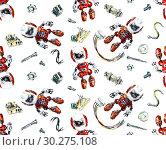 Seamless pattern with robots. Watercolor hand drawn illustration. Стоковая иллюстрация, иллюстратор Мария Кутузова / Фотобанк Лори