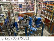 Купить «Welding robot in the process. Modern welding production.», фото № 30275332, снято 28 сентября 2018 г. (c) Андрей Радченко / Фотобанк Лори