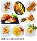 Купить «Collage of various breakfast foods on a white background», фото № 30300292, снято 23 июля 2019 г. (c) Яков Филимонов / Фотобанк Лори