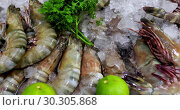 Serving seafood ice greens. Стоковое видео, видеограф Ekaterina Demidova / Фотобанк Лори