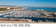 Купить «Aerial view of harbor of Barcelona», фото № 30306456, снято 24 декабря 2017 г. (c) Яков Филимонов / Фотобанк Лори
