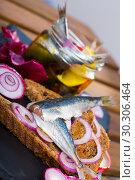 Купить «Homemade pickling pilchards», фото № 30306464, снято 23 августа 2018 г. (c) Яков Филимонов / Фотобанк Лори