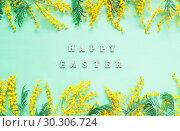 Купить «Easter background. Mimosa flowers and festive inscription Happy Easter», фото № 30306724, снято 7 марта 2018 г. (c) Зезелина Марина / Фотобанк Лори