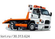 Купить «Cartoon tow truck isolated on white background», иллюстрация № 30313624 (c) Александр Володин / Фотобанк Лори