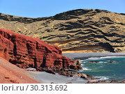 Купить «Lagoon El Golfo with the black beach. Lanzarote Island. Spain», фото № 30313692, снято 22 июня 2008 г. (c) Знаменский Олег / Фотобанк Лори