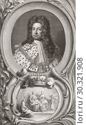 """George I, 1660 â. """" 1727. King of Great Britain and Ireland. From the 1813 edition of The Heads of Illustrious Persons of Great Britain, Engraved by Mr... Стоковое фото, фотограф Classic Vision / age Fotostock / Фотобанк Лори"""
