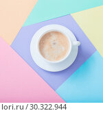 Купить «cup of coffee on pastel paper background», фото № 30322944, снято 14 марта 2019 г. (c) Майя Крученкова / Фотобанк Лори