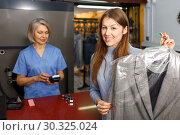 Купить «Portrait of satisfied adult female customer», фото № 30325024, снято 22 января 2019 г. (c) Яков Филимонов / Фотобанк Лори
