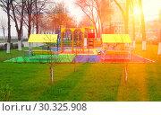 Купить «Children's playground on the embankment of the Volga River in Samara.», фото № 30325908, снято 3 мая 2014 г. (c) Акиньшин Владимир / Фотобанк Лори