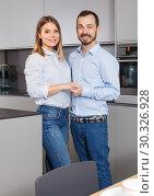 Купить «Loving couple in kitchen», фото № 30326928, снято 24 мая 2018 г. (c) Яков Филимонов / Фотобанк Лори