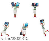 Купить «Young man with heavy suitcases isolated on white», фото № 30331012, снято 19 марта 2019 г. (c) Elnur / Фотобанк Лори