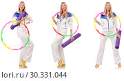 Купить «Beautiful woman with hula hoop isolated on white», фото № 30331044, снято 26 марта 2019 г. (c) Elnur / Фотобанк Лори