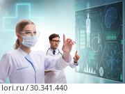 Купить «Doctors in future telemedicine concept», фото № 30341440, снято 21 марта 2019 г. (c) Elnur / Фотобанк Лори