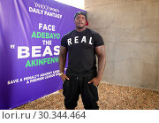 Купить «Adebayo 'The Beast' Akinfenwa was appearing at the Yahoo Sport Daily Fantasy Deadline Day Dugout event at Boxpark, Shoreditch. Featuring: Adebayo Akinfenwa...», фото № 30344464, снято 31 августа 2017 г. (c) age Fotostock / Фотобанк Лори