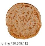 Thin pancake isolated on white background. Стоковое фото, фотограф Евгений Харитонов / Фотобанк Лори