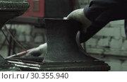 Hands Of A Blacksmith Connect Forged Iron Parts. Стоковое видео, видеограф Pavel Biryukov / Фотобанк Лори