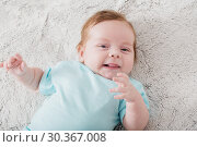 Купить «baby 2 months on bed», фото № 30367008, снято 21 января 2019 г. (c) Майя Крученкова / Фотобанк Лори