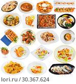 Купить «Collection of shrimps dishes», фото № 30367624, снято 25 апреля 2019 г. (c) Яков Филимонов / Фотобанк Лори
