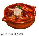 Купить «Bowl served with bean with pork, boiled carrots and greens», фото № 30367640, снято 15 июня 2019 г. (c) Яков Филимонов / Фотобанк Лори