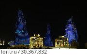 Купить «Night view of Baku Flame Towers, Azerbaijan», видеоролик № 30367832, снято 17 марта 2019 г. (c) Serg Zastavkin / Фотобанк Лори