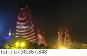 Купить «Night view of Baku Flame Towers, Azerbaijan», видеоролик № 30367848, снято 18 марта 2019 г. (c) Serg Zastavkin / Фотобанк Лори
