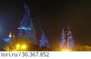 Купить «Night view of Baku Flame Towers, Azerbaijan», видеоролик № 30367852, снято 18 марта 2019 г. (c) Serg Zastavkin / Фотобанк Лори