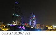 Купить «Night view of Baku Flame Towers, Azerbaijan», видеоролик № 30367892, снято 18 марта 2019 г. (c) Serg Zastavkin / Фотобанк Лори