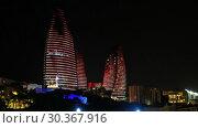 Купить «Night view of Baku Flame Towers, Azerbaijan», видеоролик № 30367916, снято 18 марта 2019 г. (c) Serg Zastavkin / Фотобанк Лори