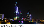 Купить «Night view of Baku Flame Towers, Azerbaijan», видеоролик № 30367944, снято 19 марта 2019 г. (c) Serg Zastavkin / Фотобанк Лори