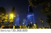 Купить «Night view of Baku Flame Towers, Azerbaijan», видеоролик № 30368800, снято 19 марта 2019 г. (c) Serg Zastavkin / Фотобанк Лори