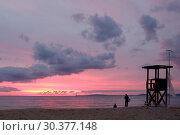 Spain, Mallorca - Sunset at Playa de Palma (2016 год). Редакционное фото, агентство Caro Photoagency / Фотобанк Лори