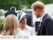 Купить «Royal Ascot, United Kingdom, Prince Harry, Duke of Sussex and his wife Meghan, Duchess of Sussex », фото № 30377252, снято 19 июня 2018 г. (c) Caro Photoagency / Фотобанк Лори