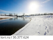 Sunny winter landscape on the Lippe, Datteln, Ruhr area, North Rhine-Westphalia, Germany. Стоковое фото, агентство Caro Photoagency / Фотобанк Лори