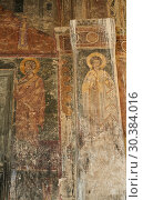 Купить «Pictures & images of the medieval fresco of saints on the front door of the Alaverdi St George Cathedral & monastery complex, 11th century, near Telavi, Georgia (country).», фото № 30384016, снято 25 июля 2018 г. (c) age Fotostock / Фотобанк Лори
