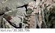 Купить «Aerial view of ruins of ancient fortified castle of Albarracin, Aragon, Spain», видеоролик № 30385796, снято 26 декабря 2018 г. (c) Яков Филимонов / Фотобанк Лори