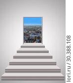 Stairs leading up to landscape of city. Стоковая иллюстрация, иллюстратор Александр Птах / Фотобанк Лори