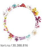 Circle frame from presents. Watercolor hand drawn illustration. Стоковое фото, фотограф Мария Кутузова / Фотобанк Лори