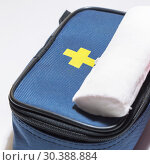 Купить «Medicine, treatment. First Aid Kit and Wound Treatment Bandage for Injuries», фото № 30388884, снято 17 декабря 2017 г. (c) Светлана Евграфова / Фотобанк Лори